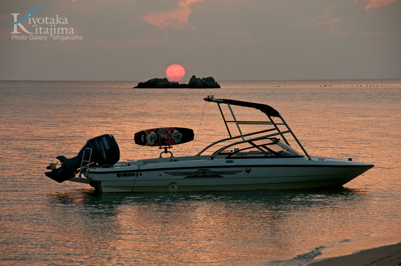 夕日とウェイクボード