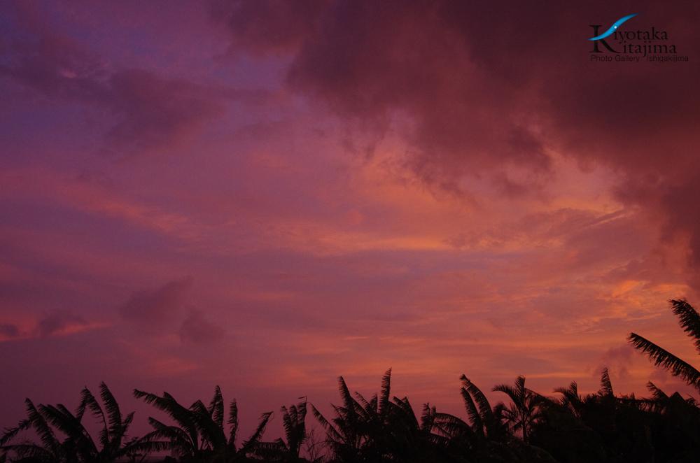 台風の夕焼け空
